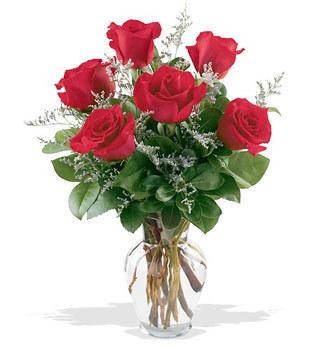 Bursa hediye çiçek yolla  cam yada mika vazoda 6 adet kirmizi gül