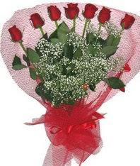 7 adet kipkirmizi gülden görsel buket  Bursa online çiçek gönderme sipariş