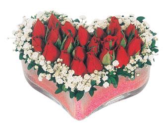 Bursa kaliteli taze ve ucuz çiçekler  mika kalpte kirmizi güller 9
