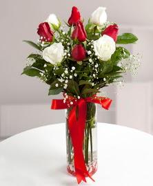 5 kırmızı 4 beyaz gül vazoda  Bursa hediye çiçek yolla