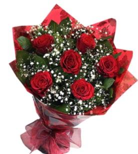 6 adet kırmızı gülden buket  Bursa uluslararası çiçek gönderme