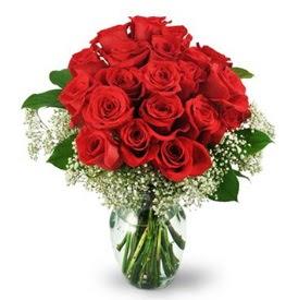 25 adet kırmızı gül cam vazoda  Bursa yurtiçi ve yurtdışı çiçek siparişi