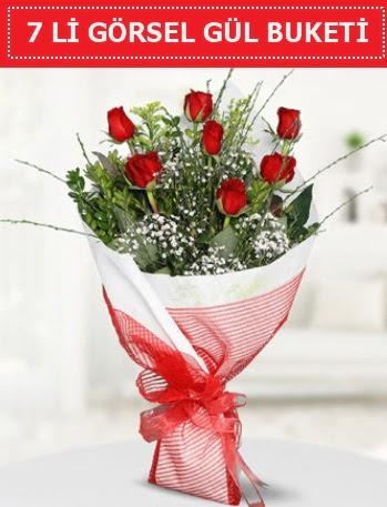 7 adet kırmızı gül buketi Aşk budur  Bursa güvenli kaliteli hızlı çiçek