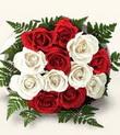 Bursa yurtiçi ve yurtdışı çiçek siparişi  10 adet kirmizi beyaz güller - anneler günü için ideal seçimdir -