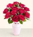 Bursa çiçek yolla , çiçek gönder , çiçekçi   10 kirmizi gül cam yada mika vazo tanzim