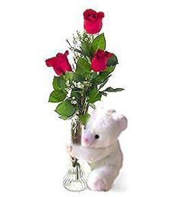 oyuncak ve 3 adet gül  Bursa çiçek gönderme sitemiz güvenlidir
