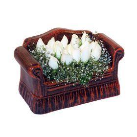 seramik içerisinde 11 gül  Bursa çiçek yolla , çiçek gönder , çiçekçi