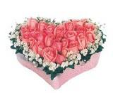 kalp içerisinde 9 adet pembe gül  Bursa güvenli kaliteli hızlı çiçek