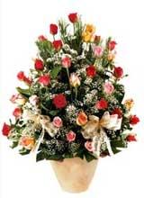 91 adet renkli gül aranjman   Bursa çiçek online çiçek siparişi