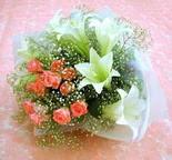 Bursa çiçek servisi , çiçekçi adresleri  lilyum ve 7 adet gül buket