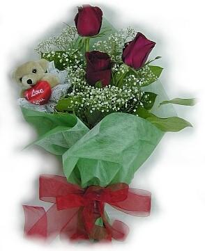 3 adet gül ve küçük ayicik buketi  Bursa ucuz çiçek gönder