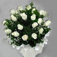 Bursa çiçek yolla , çiçek gönder , çiçekçi   11 adet beyaz gül buketi ve bembeyaz amnbalaj