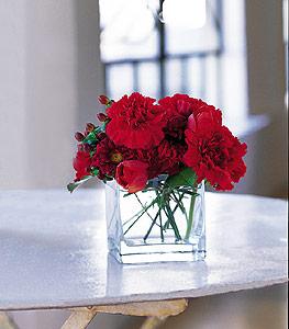 Bursa online çiçekçi , çiçek siparişi  kirmizinin sihri cam içinde görsel sade çiçekler