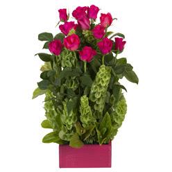 12 adet kirmizi gül aranjmani  Bursa online çiçek gönderme sipariş