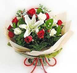 güller ve kazablanklardan görsel bir buket  Bursa çiçek yolla
