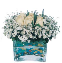 Bursa İnternetten çiçek siparişi  mika yada cam içerisinde 7 adet beyaz gül