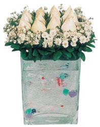 Bursa İnternetten çiçek siparişi  7 adet beyaz gül cam yada mika vazo tanzim