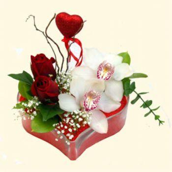 Bursa çiçekçiler  1 kandil orkide 5 adet kirmizi gül mika kalp