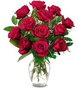 Bursa çiçek , çiçekçi , çiçekçilik  1 düzine kirmizi gül sevenlere özel vazo gülleri