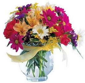 Bursa çiçek yolla  cam yada mika içerisinde karisik mevsim çiçekleri