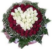 Bursa online çiçek gönderme sipariş  27 adet kirmizi ve beyaz gül sepet içinde
