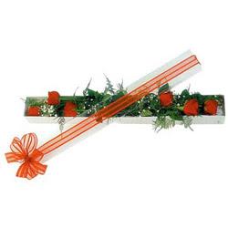 Bursa çiçek gönderme sitemiz güvenlidir  6 adet kirmizi gül kutu içerisinde
