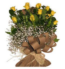 Bursa çiçek servisi , çiçekçi adresleri  9 adet sari gül buketi