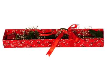 Bursa kaliteli taze ve ucuz çiçekler  kutu içerisinde 1 adet kirmizi gül