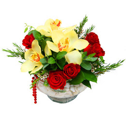 Bursa çiçek mağazası , çiçekçi adresleri  1 adet orkide 5 adet gül cam yada mikada