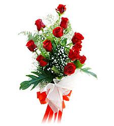 11 adet kirmizi güllerden görsel sölen buket  Bursa çiçek satışı