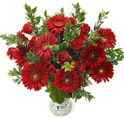 5 adet kirmizi gül 5 adet gerbera aranjmani  Bursa çiçek yolla , çiçek gönder , çiçekçi