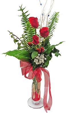 Çiçek gönderin cam vazoda 3 gül çiçekleri  Bursa çiçek gönderme sitemiz güvenlidir