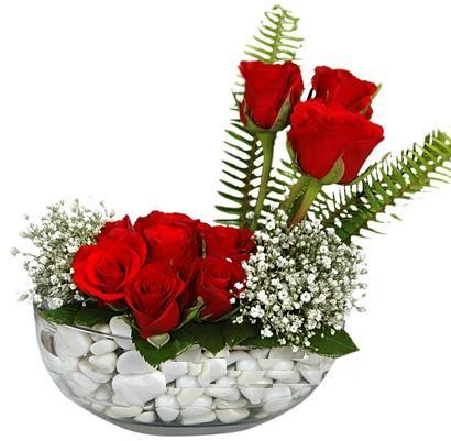 cam içerisinde 9 adet kirmizi gül  Bursa çiçek satışı