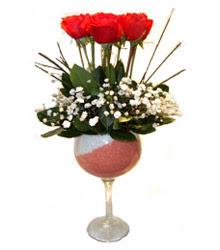 Bursa çiçek gönderme  cam kadeh içinde 7 adet kirmizi gül çiçek