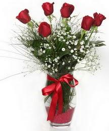 7 adet gülden cam içerisinde güller  Bursa çiçek siparişi sitesi