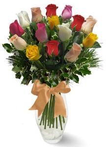 15 adet vazoda renkli gül  Bursa çiçek yolla
