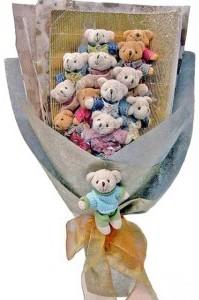 12 adet ayiciktan buket tanzimi  Bursa ucuz çiçek gönder