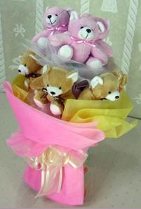 8 adet ayiciktan buket  Bursa ucuz çiçek gönder