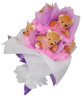 9 adet ayiciktan buket  Bursa çiçekçiler