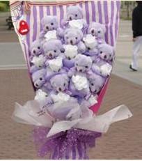 11 adet pelus ayicik buketi  Bursa çiçek online çiçek siparişi