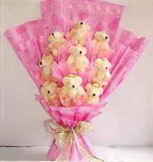 9 adet pelus ayicik buketi  Bursa internetten çiçek satışı