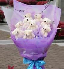 11 adet pelus ayicik buketi  Bursa online çiçekçi , çiçek siparişi