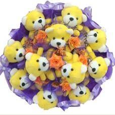 11 adet pelus ayicik buketi  Bursa online çiçek gönderme sipariş
