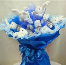 7 adet pelus ayicik buketi  Bursa yurtiçi ve yurtdışı çiçek siparişi