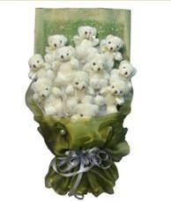 11 adet pelus ayicik buketi  Bursa çiçek , çiçekçi , çiçekçilik