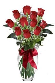 11 adet kirmizi gül vazo mika vazo içinde  Bursa çiçek siparişi sitesi