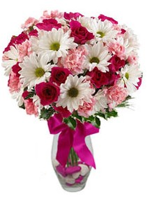 Bursa çiçek gönderme sitemiz güvenlidir  Karisik mevsim kir çiçegi vazosu