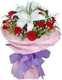 9 adet kirmizi gül 1 adet kazablanka buketi  Bursa İnternetten çiçek siparişi