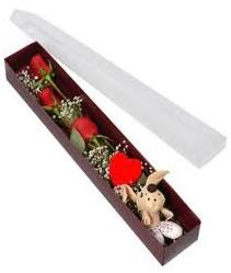kutu içerisinde 3 adet gül ve oyuncak  Bursa hediye çiçek yolla