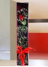kutu içinde tek kirmizi gül  Bursa internetten çiçek siparişi